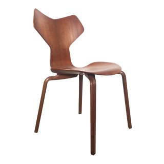 Vintage Mid Century Arne Jacobsen Teak Model 4130 by Fritz Hansen Grand Prix Chair For Sale