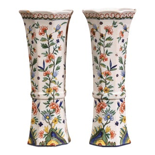 19th Century French Hand-Painted Faience Vases From Normandy - a Pair For Sale