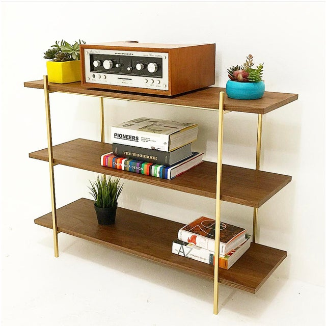 Hollywood Regency Walnut & Gold Low Book Shelf For Sale - Image 3 of 3