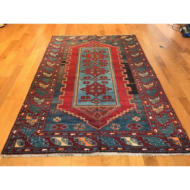 Islamic Antique Turkish Kazak Rug - 5′7″ × 8′1″ For Sale - Image 3 of 9