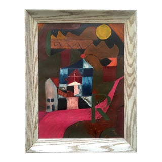 Vintage Mid Century Modernist E. Simnowski Original Signed Framed Abstract Oil Painting For Sale