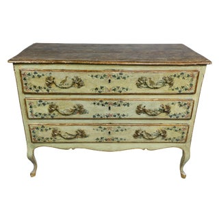 Italian Rococo Lacca Povera Painted Commode For Sale
