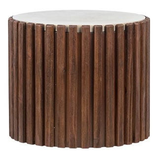 Wood Slat Concrete Top Side Table For Sale