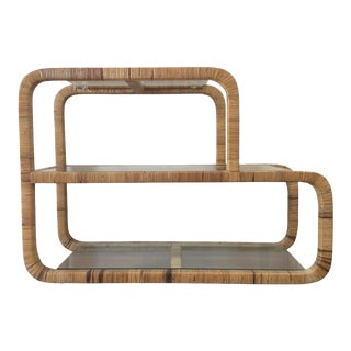 Mid-Century Modern Rattan Wrapped Etagere/ Bookcase For Sale