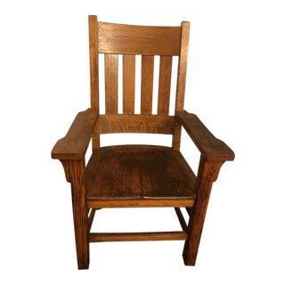 Antique Arts and Crafts Mission Style Armchair For Sale