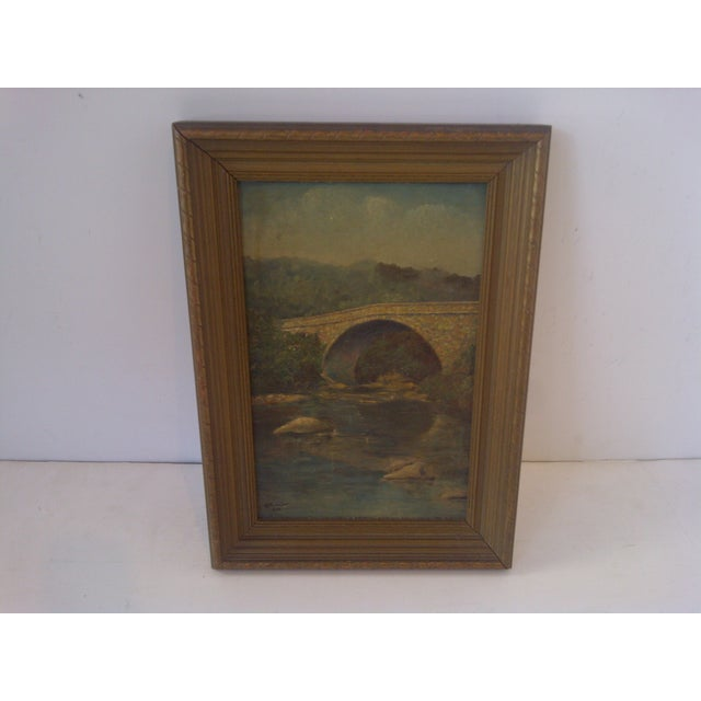 """Original Painting of """"Schenley Bridge,"""" Pittsburgh, PA - Circa 1938 Framed. No glass. Ready for display. Very good..."""