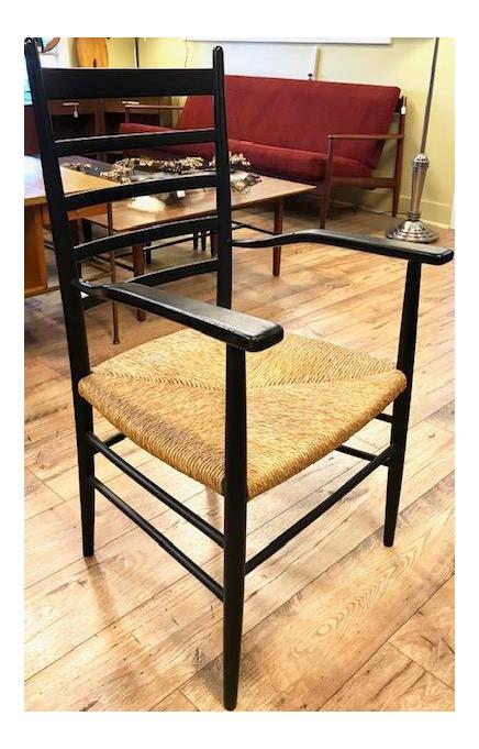 Mid Century Italian Gio Ponti Superleggera Style Arm Chair, Signed For Sale