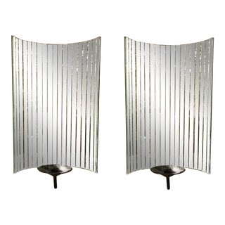 Glamorous Modern Mirror Paneled Wall Sconces Pair For Sale