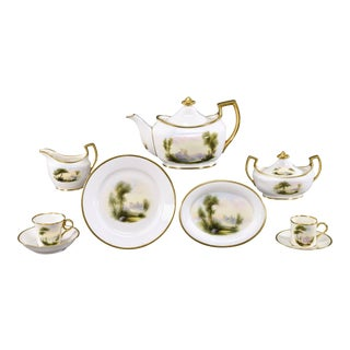 Royal Worcester 9 Pc. Handpainted Artist Signed, Rushton, Scenic Breakfast Set For Sale