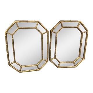 Hollywood Regency Gold Bamboo Mirrors - a Pair For Sale