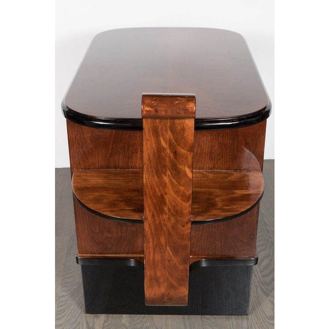 Streamlined Art Deco End Table or Dry Bar Cabinet in Book-Matched Exotic Walnut For Sale - Image 9 of 10