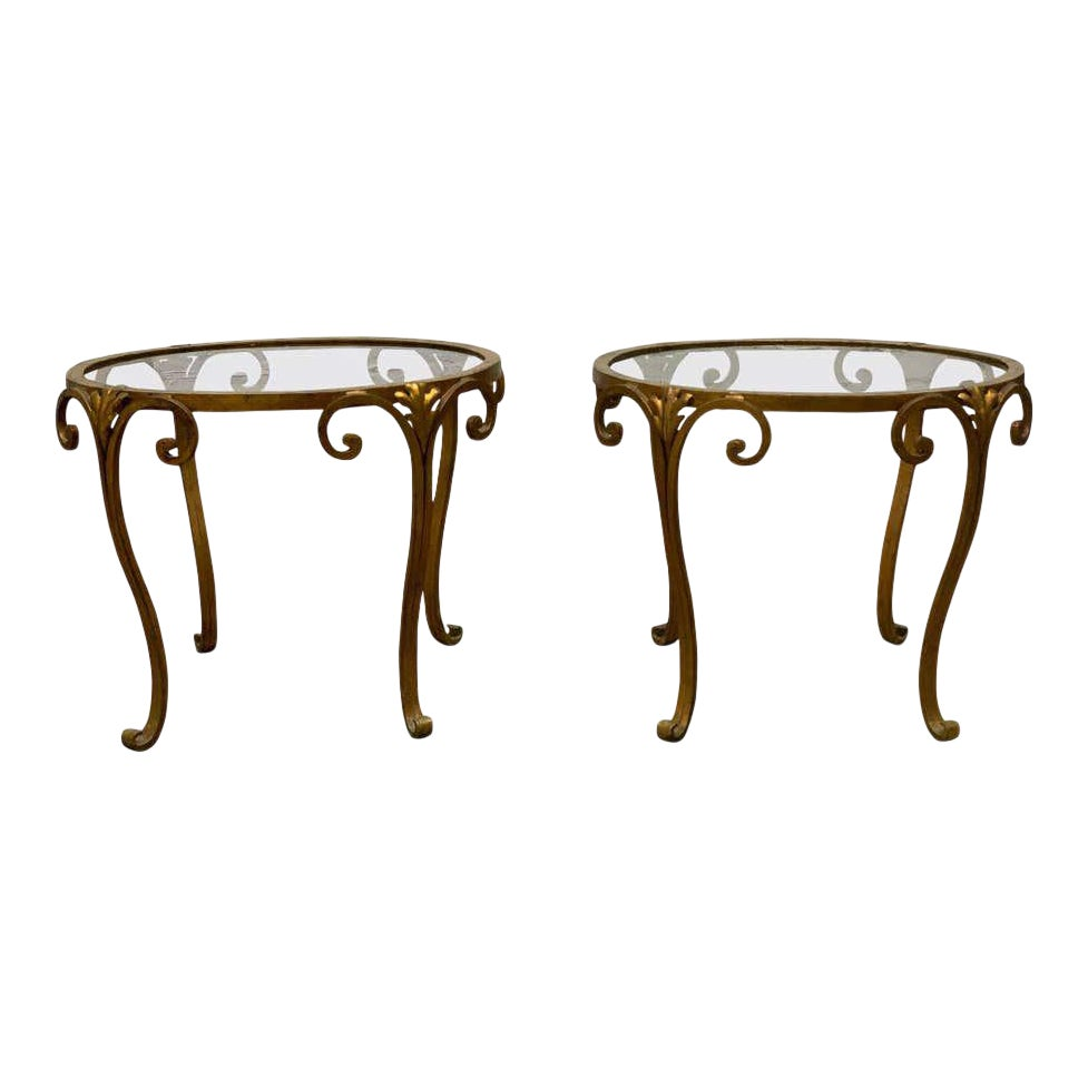1950s French Gilt Wrought Iron Glass Top Side Tables A Pair Chairish