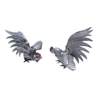 Silver Plated Fighting Gamecocks - a Pair For Sale
