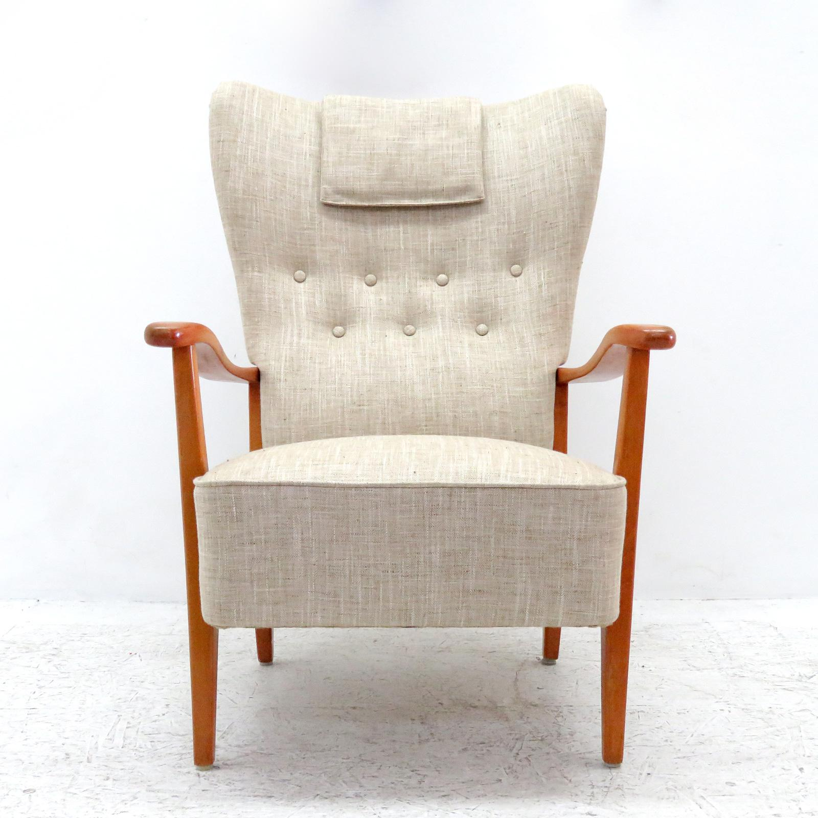 Wonderful Danish Modern High Back Chair By DUX, 1940, Sculptural Stained  Beech Frame With