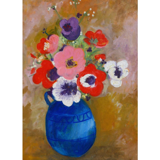 Canvas Large - French Bouquet of Flowers, Oil Painting For Sale - Image 7 of 13