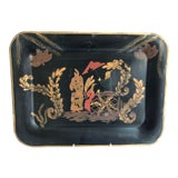 Image of Vintage Hand-Painted Chinoiserie Tole Tray For Sale