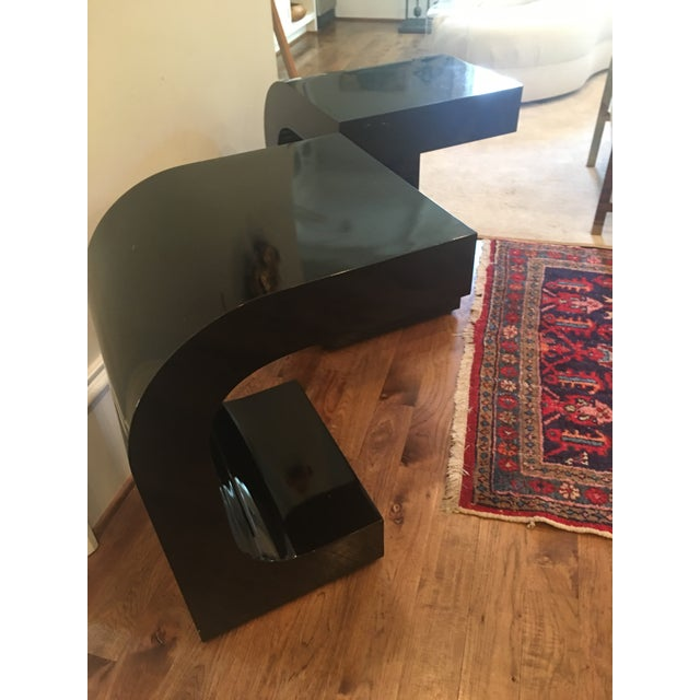 Vintage Lacquered Black Fitted Side Tables - A Pair - Image 6 of 11