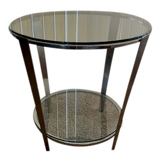 Mid Century Dia Chrome/Glass Lamp Table For Sale