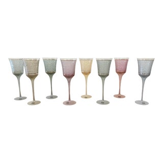 Mid-Century Modern Romanian Handblown Crystal Multicolored Wine Glasses - Set of 8 For Sale