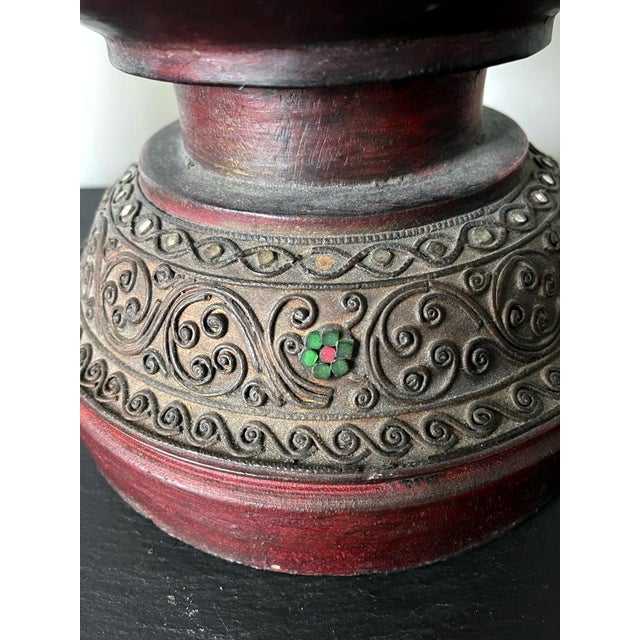 Brown Antique Lacquered Wood Offering Vessel, Thailand For Sale - Image 8 of 12