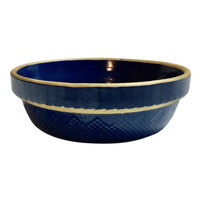 Antique Stoneware Pottery Blue Bowl - Image 1 of 4