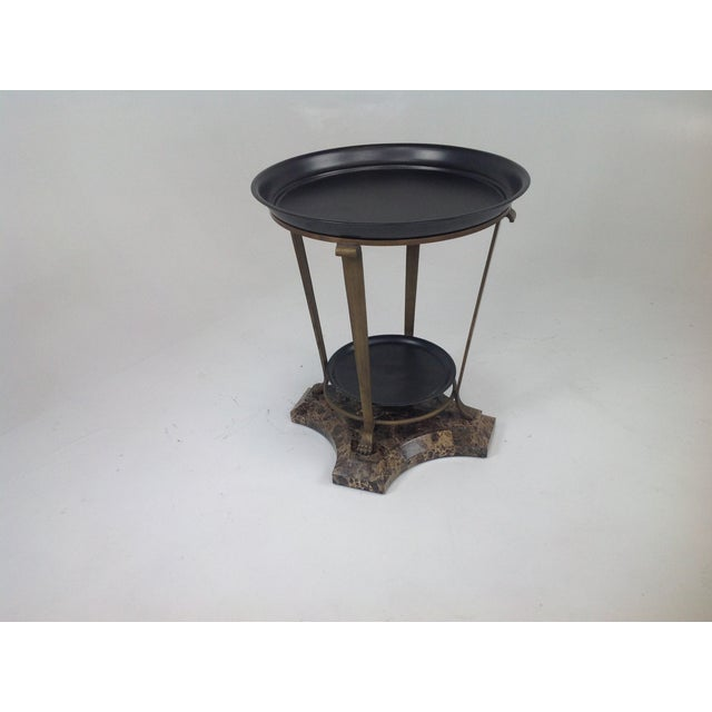 Claw Foot Travertine & Iron Foyer Table For Sale - Image 7 of 7