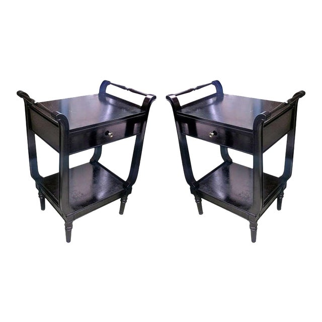 Maison Jansen Pair of Black Neoclassic 1940s Bedsides or Side Tables For Sale