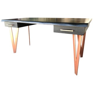 Black Wood and Cooper Metal Modern Art Desk For Sale