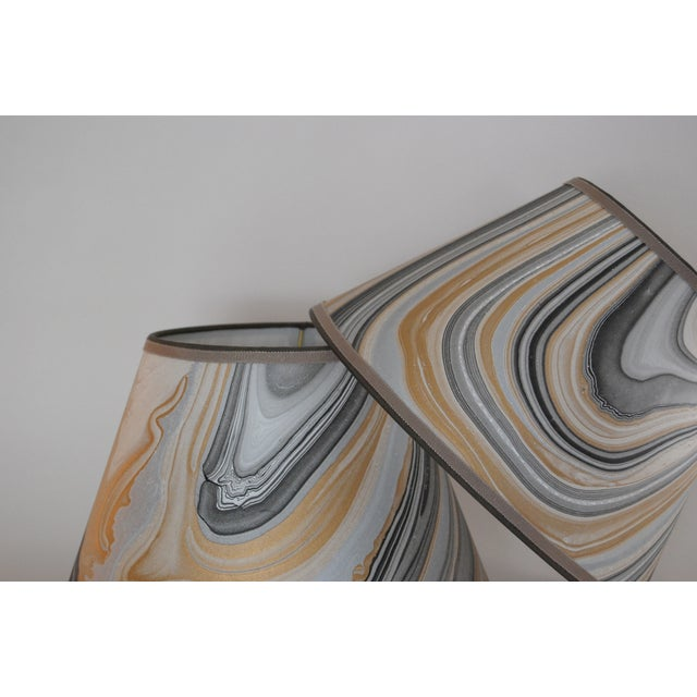 Gold, Grey & Black Marble Lampshades - Pair - Image 3 of 5