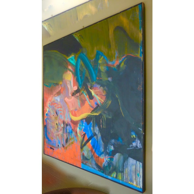 Contemporary Mid-Century Abstract Oil Painting For Sale - Image 3 of 7