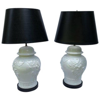 Pair of Blanc De Chine Baluster Form Jars Mounted as Table Lamps