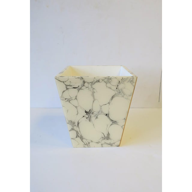 Wood Black and White Marble Style Wastebasket or Trash Can Set For Sale - Image 7 of 13