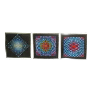 Victor Vasarely Op Art Abstract Screen Prints - Set of 3 For Sale