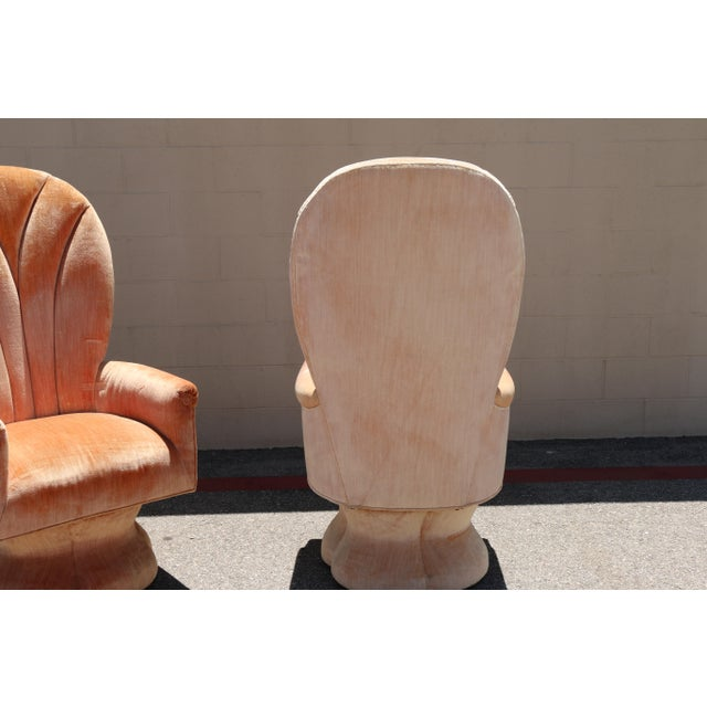Velvet Highback Swivel Chairs - A Pair - Image 9 of 10
