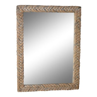 1960s Hollywood Regency Woven Rattan Wall Mirror For Sale