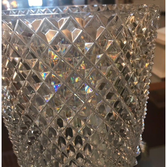 Hollywood Regency Late 19th Century Diamond Cut Crystal Vase For Sale - Image 3 of 11