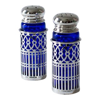 Cobalt Glass and Silverplate Salt and Pepper Shakers