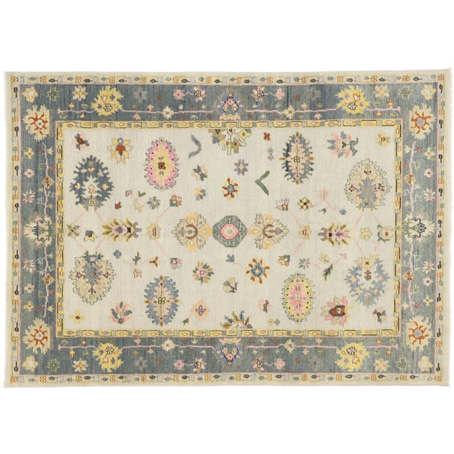 Contemporary Oushak Transitional Area Rug - 9′ × 12′7″ For Sale - Image 9 of 10
