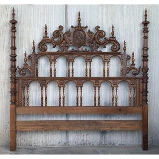 19th Century Baroque Style King Size Headboard in Carved Walnut Preview