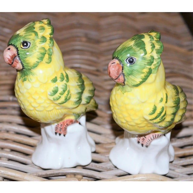 Ceramic 1970s Italian Majolica Pottery Parakeets - a Pair For Sale - Image 7 of 11