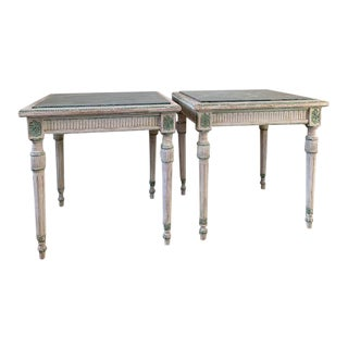 Vintage Louis XV Style Marble Topped Painted Side Tables - a Pair For Sale