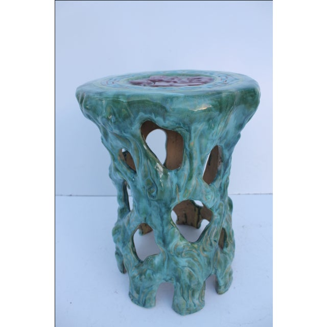Vintage Textural Turquoise Garden Stool - Image 3 of 8