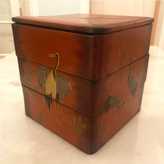 Vintage Japanese Lacquer Stacking Bento Box with Cranes, C 1940s For Sale - Image 4 of 13