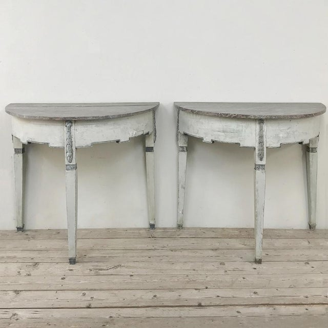 Pair 19th Century Swedish Painted Demilune Consoles For Sale - Image 4 of 13