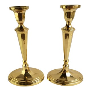 Vintage Empire Campaign Solid Brass Candlestick Candle Holders - a Pair For Sale