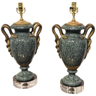 Pair of Louis XV Style Ormolu Mounted Verdigris Marble Urns, Now as Lamps For Sale