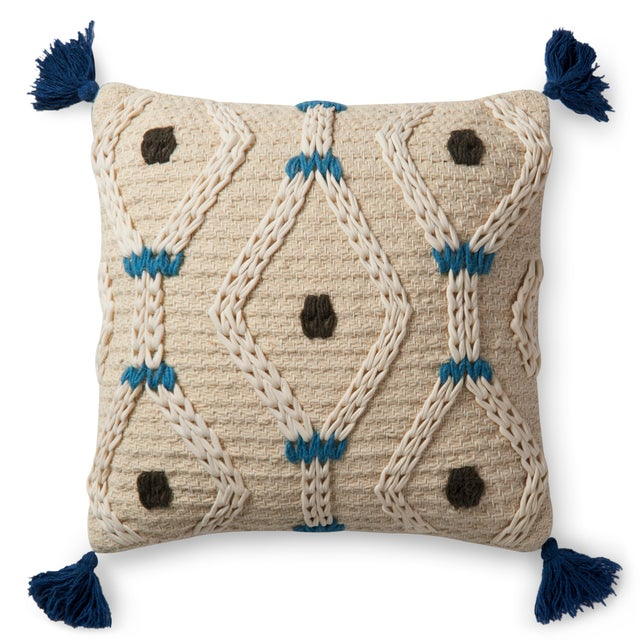 "Contemporary Justina Blakeney X Loloi Ivory / Blue 22"" X 22"" Cover with Down Pillow For Sale - Image 3 of 3"