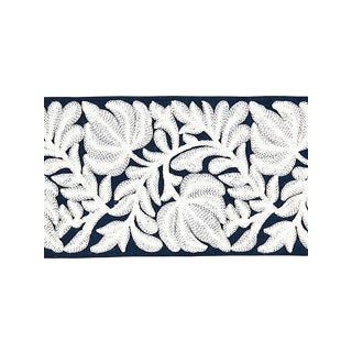Scalamandre Coventry Embroidered Navy Tape For Sale