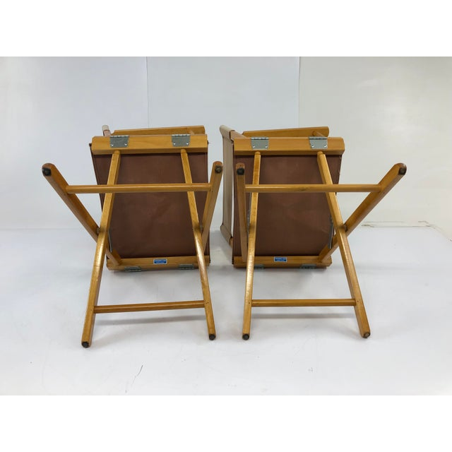 Vintage Wood & Canvas Folding Director Chairs - a Pair For Sale - Image 6 of 12