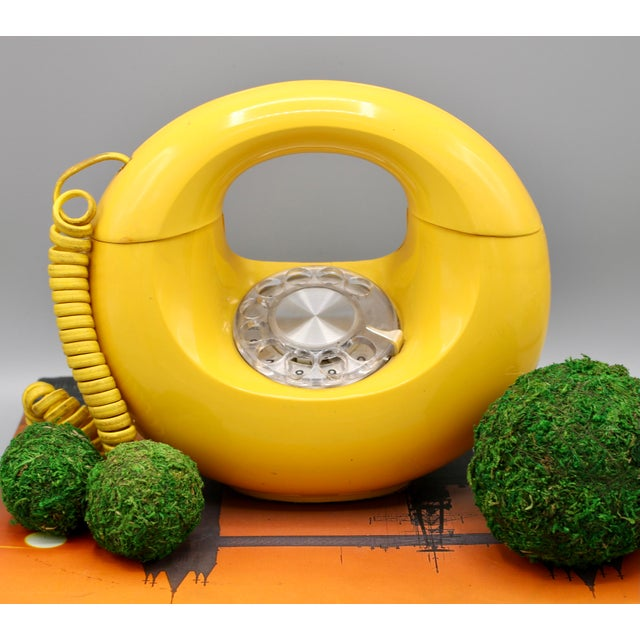 1970s Art Deco Lemon Yellow Rotary Telephone For Sale - Image 10 of 13
